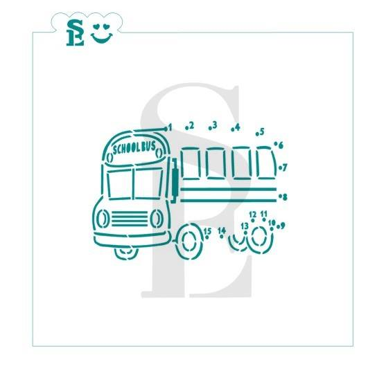 School Bus Connect The Dot PYO Stencil for Cookies, Cakes & Culinary