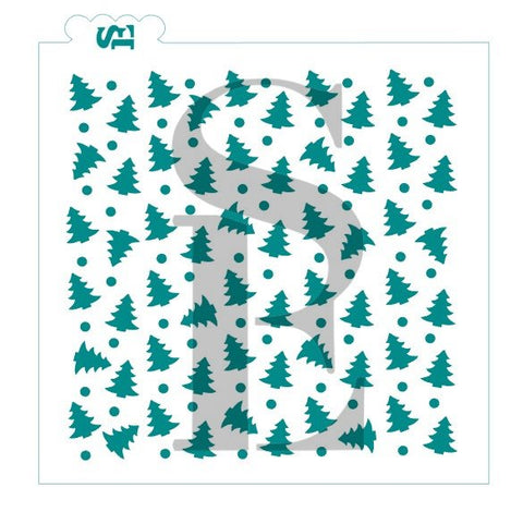 Scattered Tree w/ Snow Background Stencil for Cookies, Cakes & Culinary *Digital Download Available