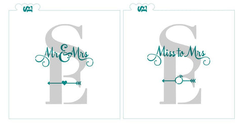 Miss to Mrs #1 / Mr & Mrs #3 Stencil Bundle for Cookies, Cakes & Culinary