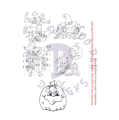 Halloween Crayon /  Marker Color Your Own Cards Digital Designs
