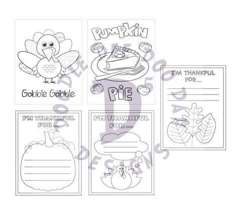 Thanksgiving Crayon /  Marker Color Your Own Cards Digital Designs