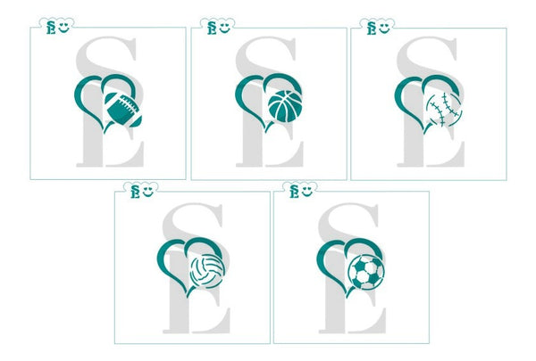 Heart Sports Balls Stencil Bundle for Cookies, Cakes & Culinary