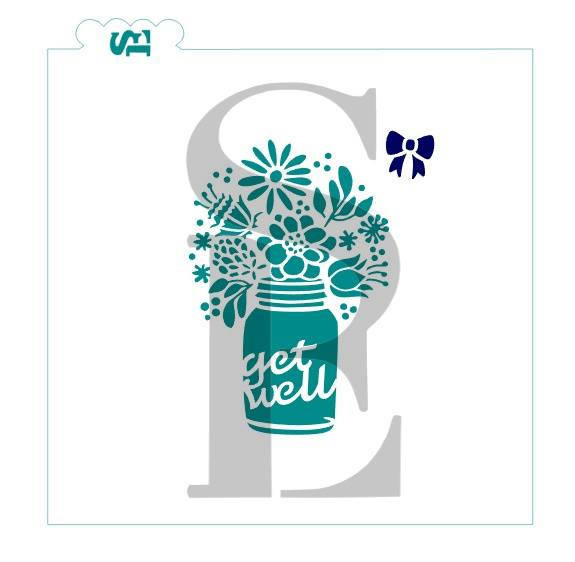 Mason Jar Bouquet, Choice of 5 Sentiments Stencil for Cookies, Cakes & Culinary