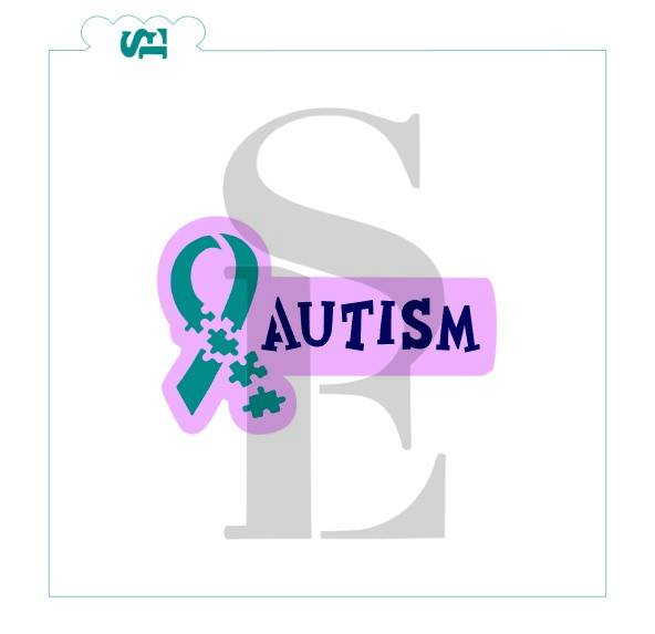Autism Ribbon, Single and Layered Digital Design