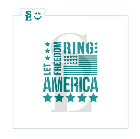 America Let Freedom Ring Subway Art Stencil for Cookies, Cakes & Culinary