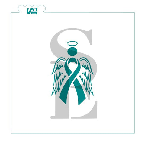 Cancer Angel Awareness Ribbon Digital Design cookie stencil