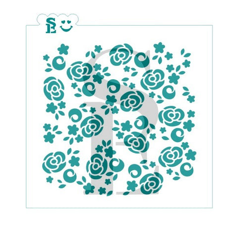 Abstract Cabbage Roses Background Stencil for Cookies, Cakes & Culinary