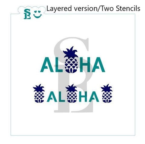 Aloha with Pineapple, One & Two Step, Stencil for Cookies, Cakes & Culinary