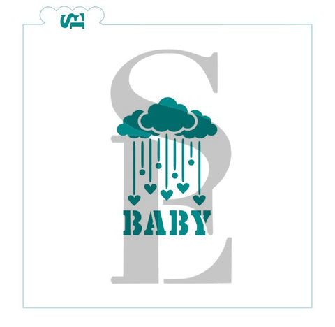 Baby Showers of Hearts Greeting Digital Design