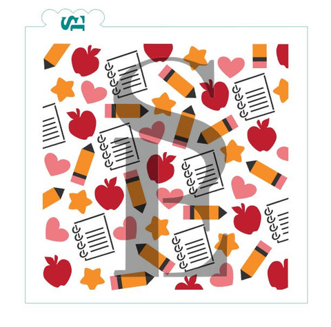 School Supplies Single & Layered Background Digital Design