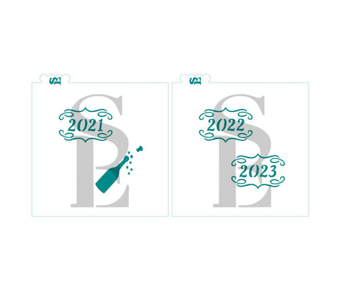 2021, 2022, 2023 Champagne Celebration Bundle Digital Design Cookie Stencil