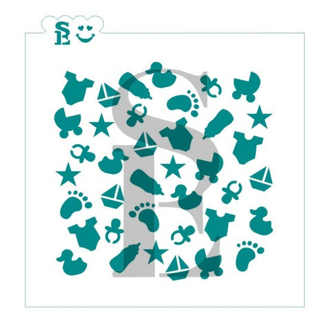 Baby Boy Background Stencil for Cookies, Cakes & Culinary