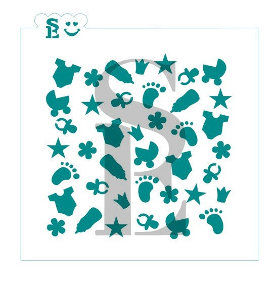 Baby Girl Background Stencil for Cookies, Cakes & Culinary