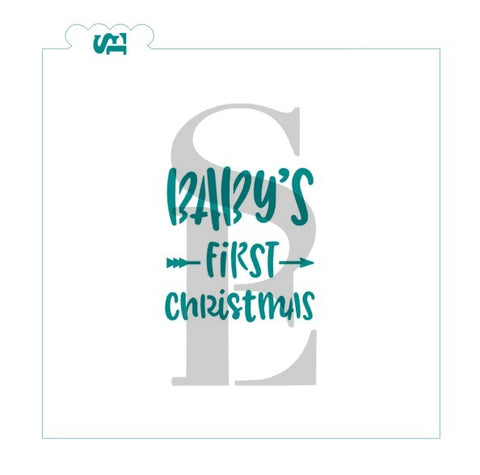 Baby's First Christmas, Boho Style Stencil for Cookies, Cakes & Culinary