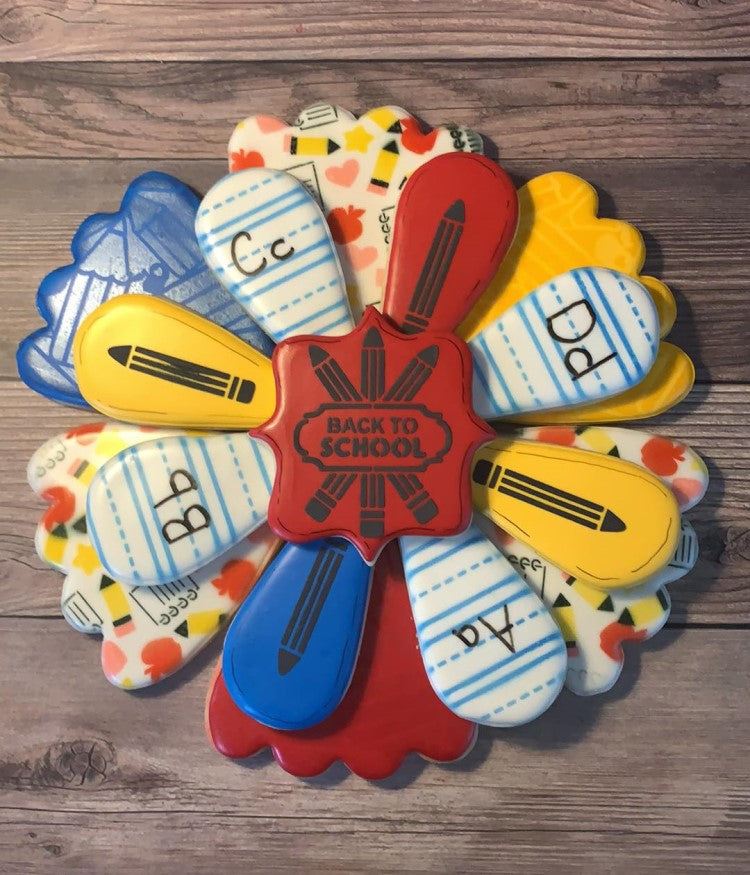 Fun Back To School cookie platter using this and other SE designs by Wish Upon A Cookie TX