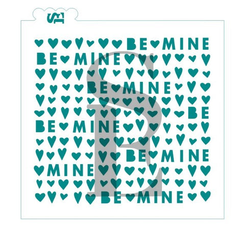 Be Mine Valentine's Background Stencil for Cookies, Cakes & Culinary