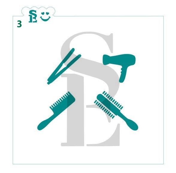 Beauty Salon Tools #3 Stencil for Cookies, Cakes & Culinary