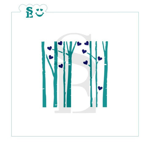 Birch Trees and Hearts Stencil for Cookies, Cakes & Culinary Valentines