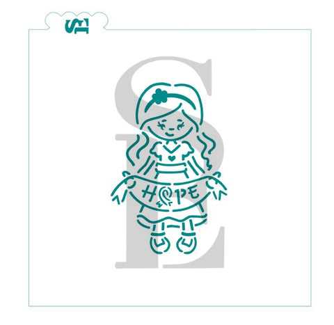 Cancer Hope Girl PYO Digital Design cookie stencil