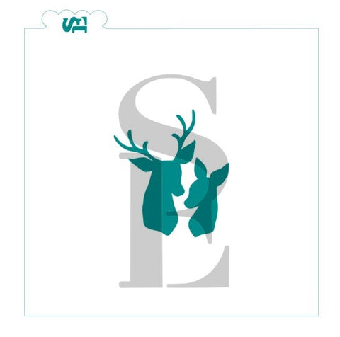e5c627170 Buck and Doe Deer Heads Silhouettes Stencil for Cookies, Cakes & Culinary  *Digital Download