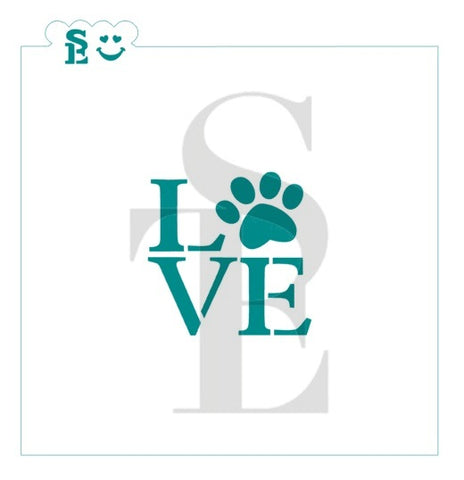 "Animal ""LOVE"" Paw Print Stencil for Cookies, Cakes & Culinary"