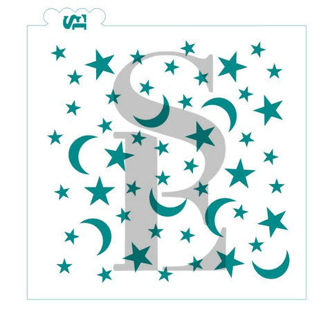 Celestial Stars and Moons Background Stencil for Cookies, Cakes & Culinary