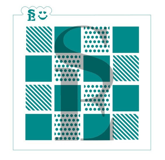 Checkerboard Background Stencil, One and Two-Step for Cookies, Cakes & Culinary