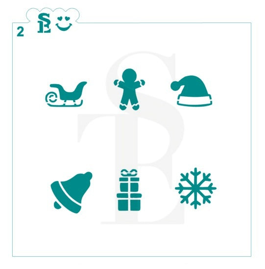 Mini Christmas #2 Stencil for Cookies, Cakes & Culinary