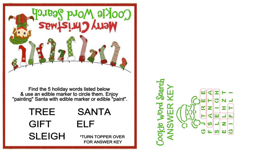 Word Search PYO, Christmas Santa w/ Bag Topper & Answer Key Digital Design