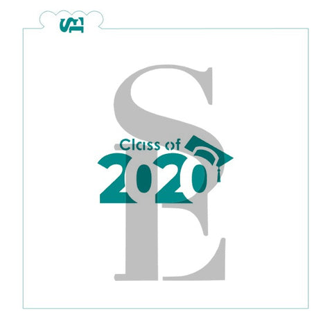 Class of 2020 #2 Cap Stencil for Cookies, Cakes & Culinary