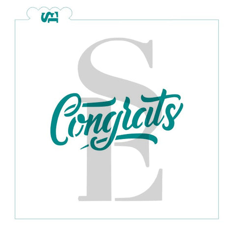 Hand Lettered Congrats Sentiment Stencil for Cookies, Cakes & Culinary