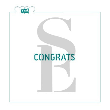 Simple Congrats Stencil for Cookies, Cakes & Culinary