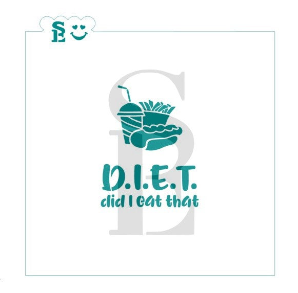 DIET - Did I Eat That Stencil with Bonus Happy Meal Mini Stencil for Cookies, Cakes, Culinary
