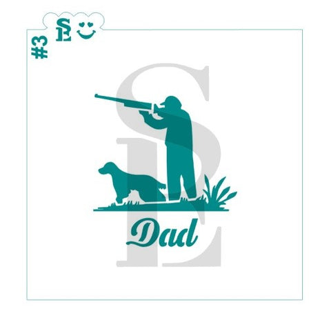 DAD - Father Silhouettes #3, Hunting, Stencil for Cookies, Cakes & Culinary