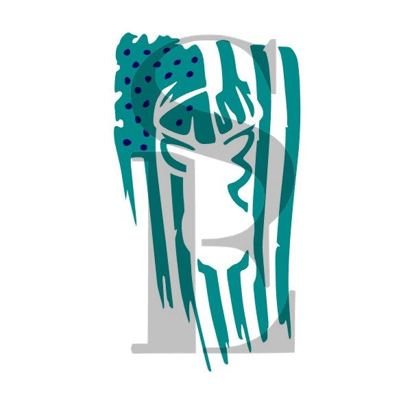 American Flag Deer Head Digital Design Cookie Stencil