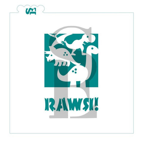 Dinosaur/RAWR Stencil Splits Digital Design cookie stencil