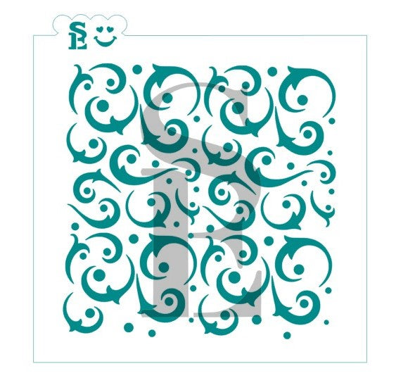 Dotted Flourishes Background Stencil for Cookies, Cakes & Culinary