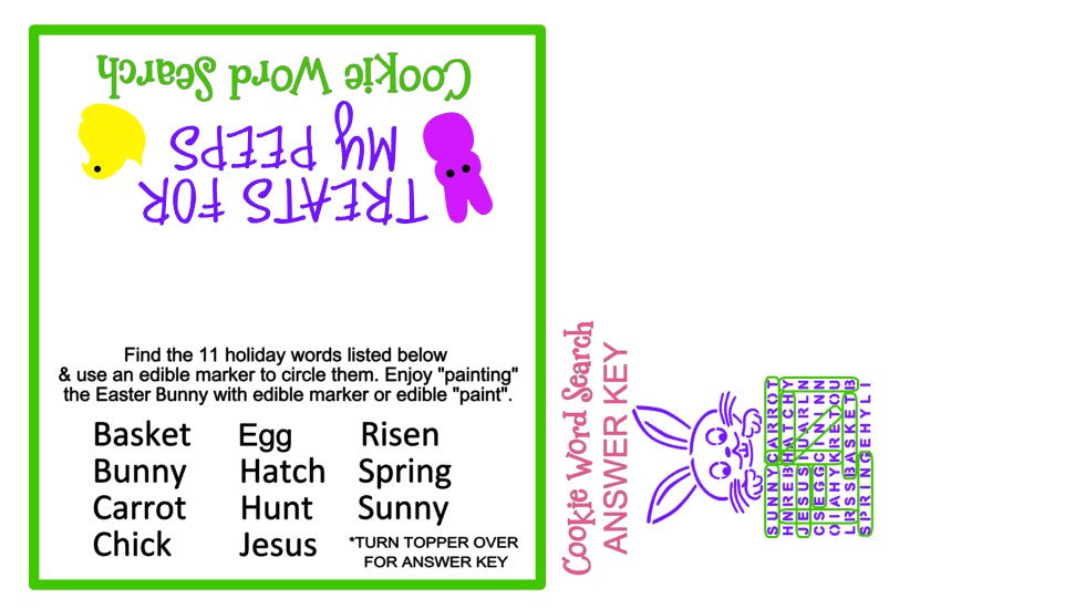 Easter Word Search w/ Bonus Mini and Bag Topper & Answer Key Digital Design Cookie Stencil Answer Key and Bag Topper