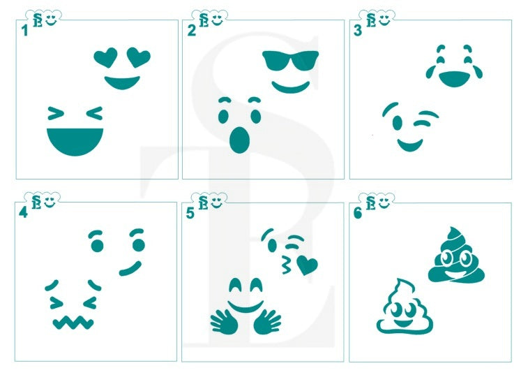 Emoji Faces Stencils Bundle for Cookies, Cakes & Culinary