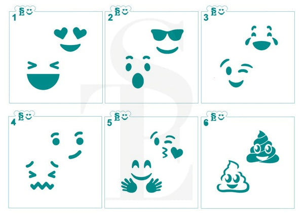 Emoji Faces #2 Stencils for Cookies, Cakes & Culinary