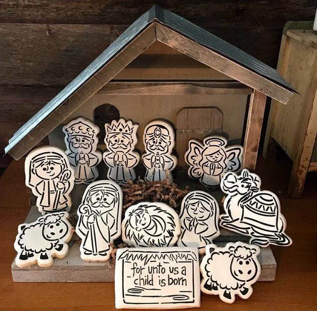 Nativity PYO Digital Design Stencil Set of 12. Exclusive From Drawn By Krista For Stencil Expressions My Cookie Gram on Instagram, Baking Sweet Hope, Sugared Owl Custom Cookie Co.  White Rose Cookies