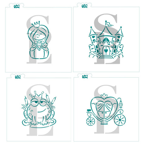 Fairy Tale Princess, Castle, Frog, Carriage Stencil Bundle for Cookies, Cakes, Culinary
