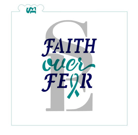 Faith Over Fear, Single or Layered Stencil for Cookies, Cakes & Culinary