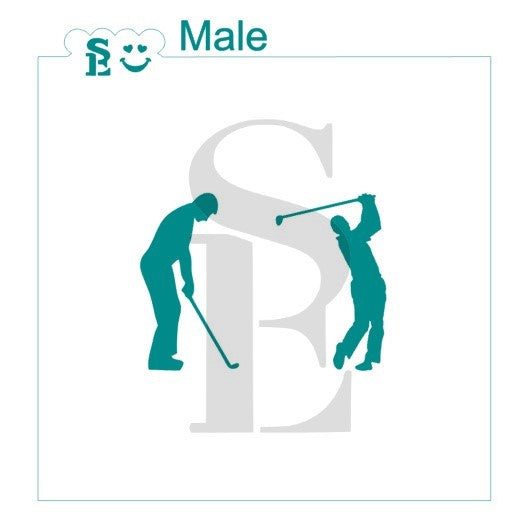 Golfer Male Silhouette Stencil for Cookies, Cakes & Culinary