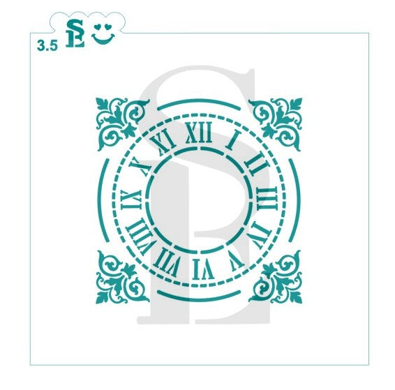 Grand Central Station Style Clock Stencil for Cookies, Cakes & Culinary