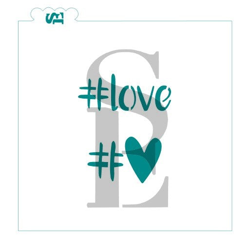 HASHTAG #love # heart Stencil for Cookies, Cakes & Culinary