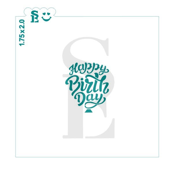 Happy Birthday Balloon Stencil for Cookies, Cakes & Culinary