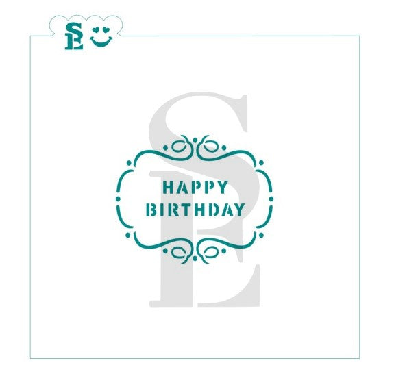 Happy Birthday Plaque Stencil for Cookies, Cakes & Culinary