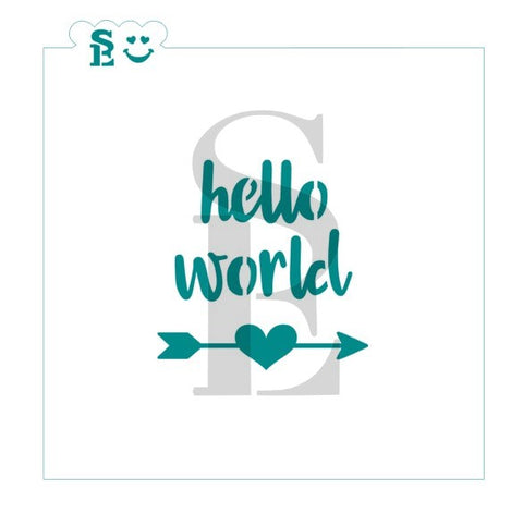 Hello World Baby Welcome Stencil for Cookies, Cakes & Culinary