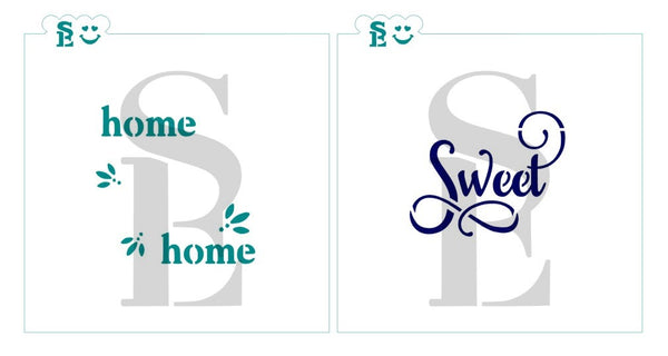 Home Sweet Home #3 Stencil Single and Two Stencil Layered Set for Cookies, Cakes & Culinary